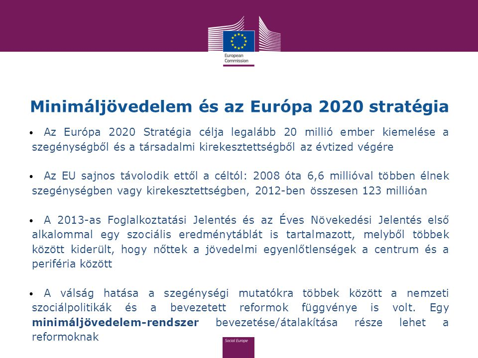 Minimáljövedelem és az Európa 2020 stratégia