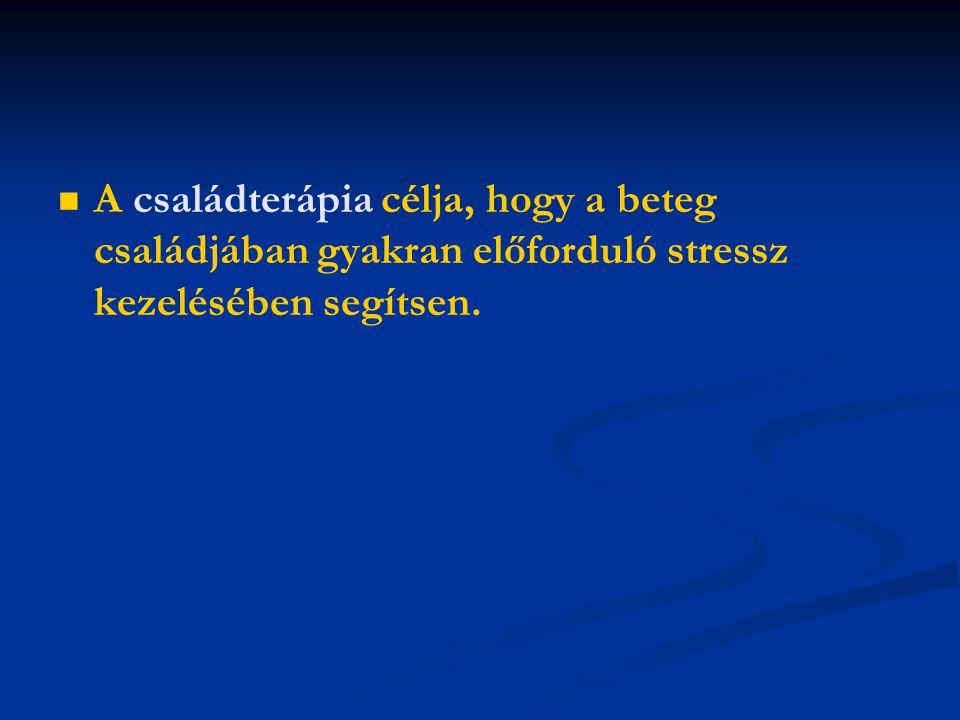 A családterápia célja, hogy a beteg családjában gyakran előforduló stressz kezelésében segítsen.