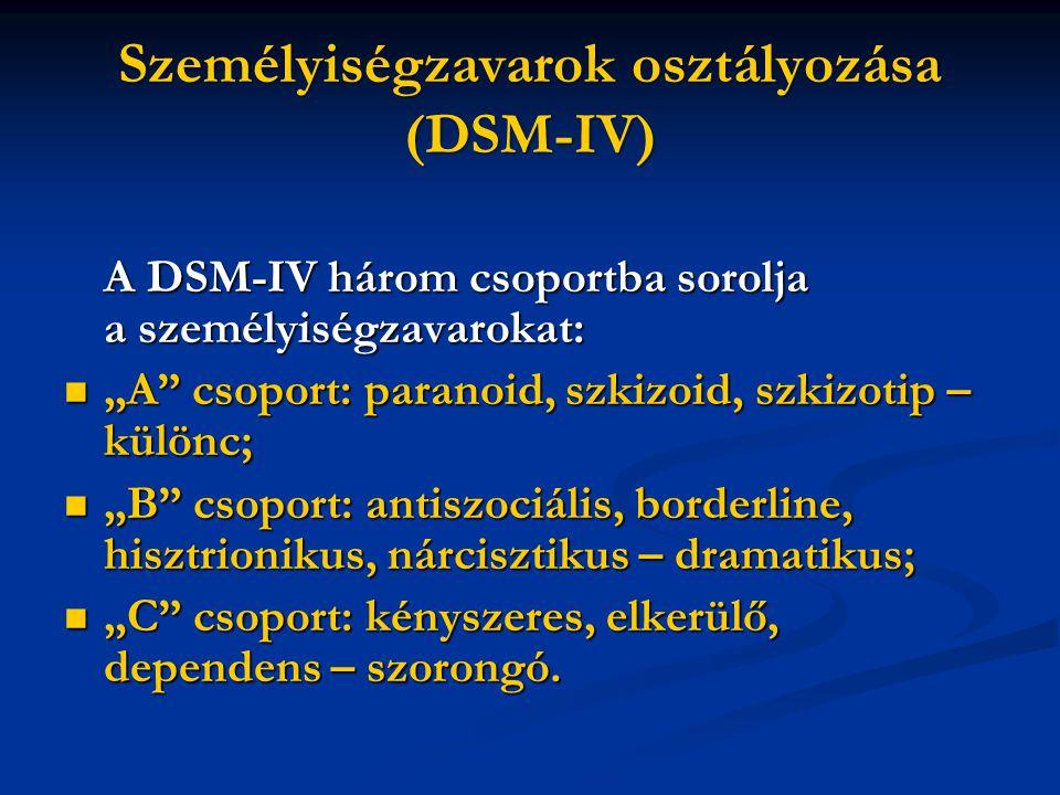 Személyiségzavarok osztályozása (DSM-IV)