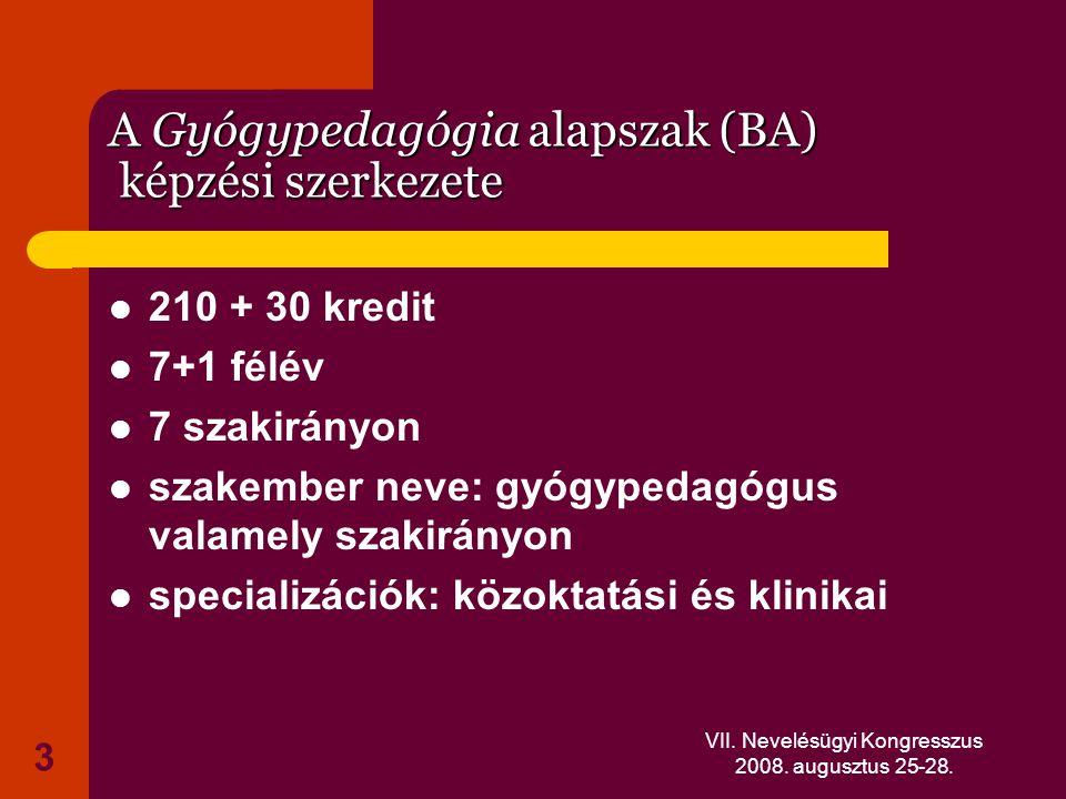 A Gyógypedagógia alapszak (BA) képzési szerkezete