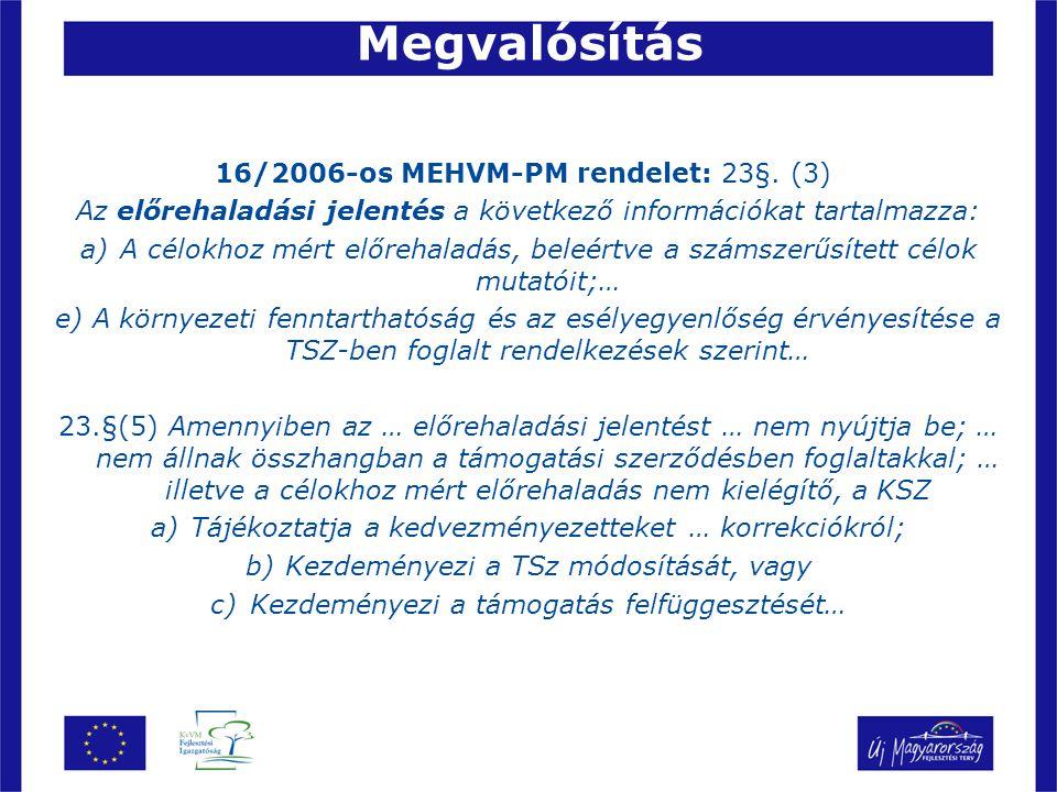 Megvalósítás 16/2006-os MEHVM-PM rendelet: 23§. (3)