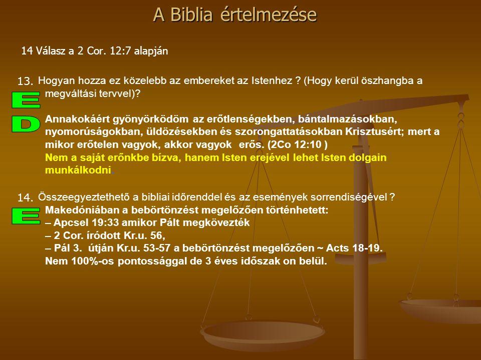 14 Válasz a 2 Cor. 12:7 alapján 13. Hogyan hozza ez közelebb az embereket az Istenhez (Hogy kerül öszhangba a megváltási tervvel)
