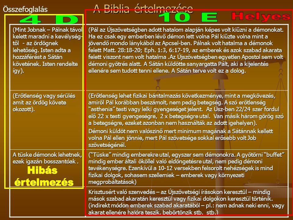 10 E Helyes 4 D Hibás értelmezés Összefoglalás