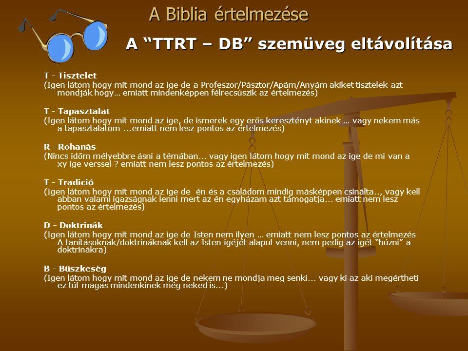 A TTRT – DB szemüveg eltávolítása