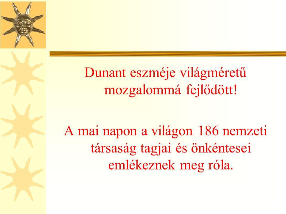 Dunant eszméje világméretű mozgalommá fejlődött!