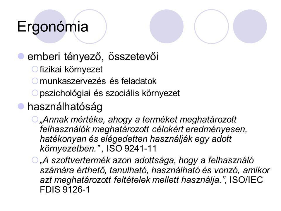 Ergonómia emberi tényező, összetevői használhatóság fizikai környezet