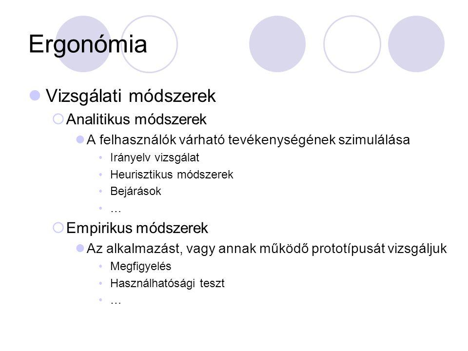 Ergonómia Vizsgálati módszerek Analitikus módszerek