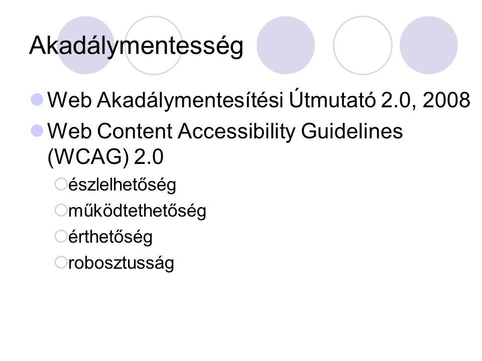 Akadálymentesség Web Akadálymentesítési Útmutató 2.0, 2008