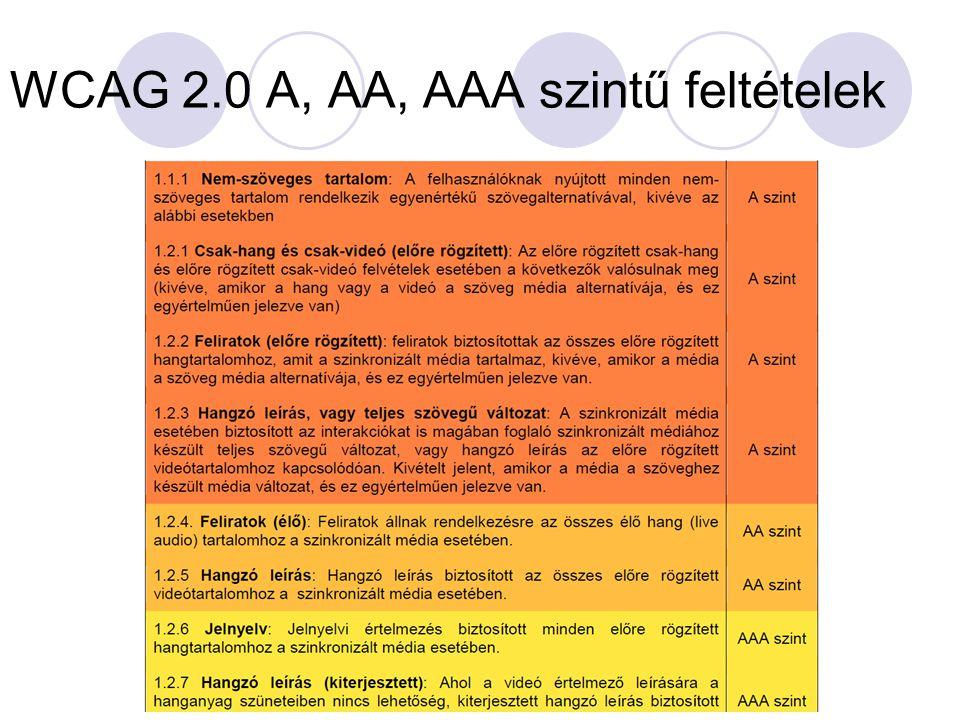 WCAG 2.0 A, AA, AAA szintű feltételek