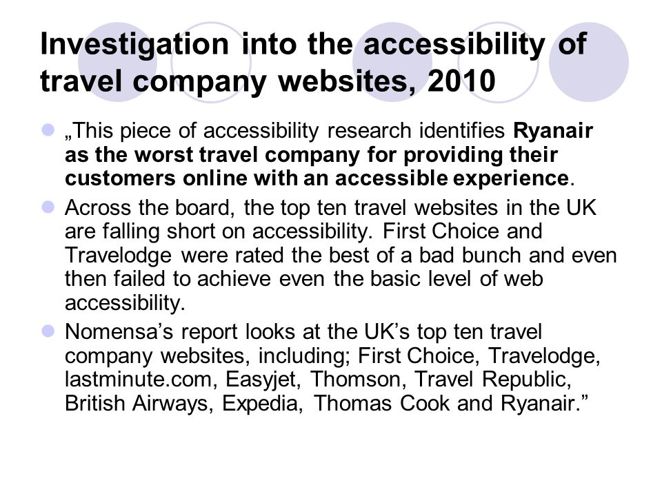 Investigation into the accessibility of travel company websites, 2010