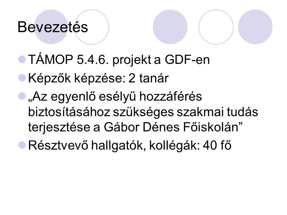 Bevezetés TÁMOP 5.4.6. projekt a GDF-en Képzők képzése: 2 tanár