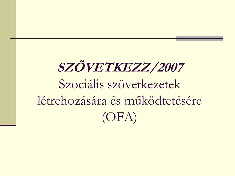 SZÖVETKEZZ/2007 Szociális szövetkezetek létrehozására és működtetésére (OFA)