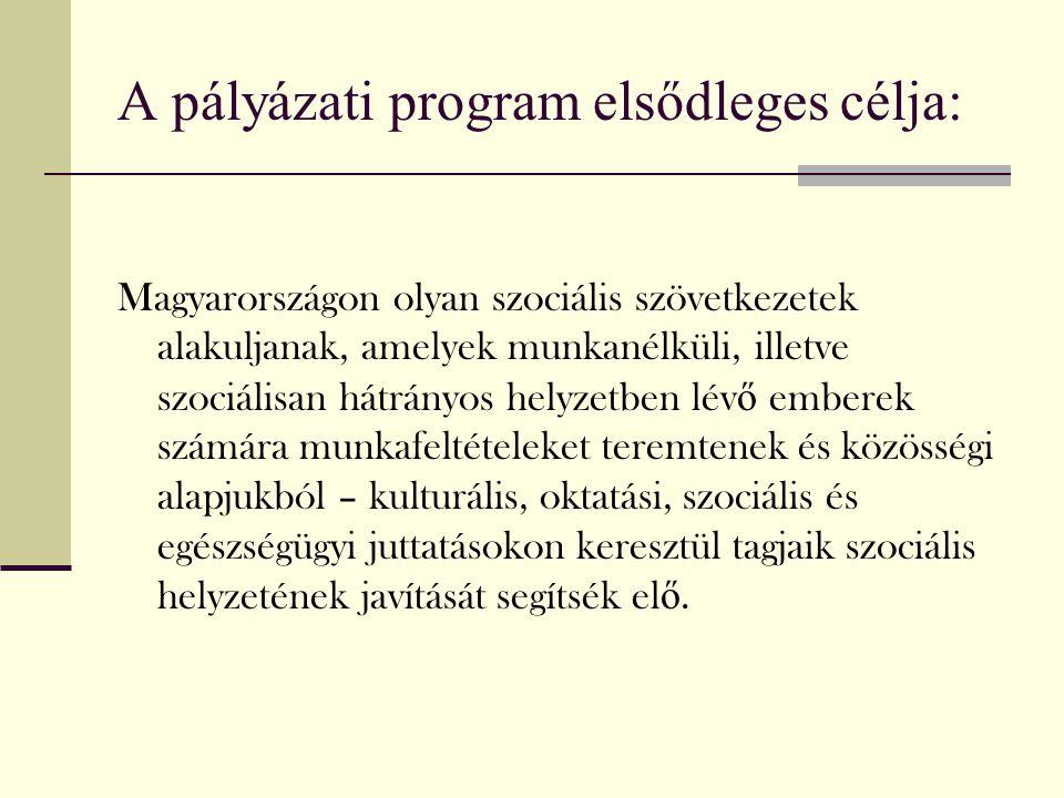 A pályázati program elsődleges célja: