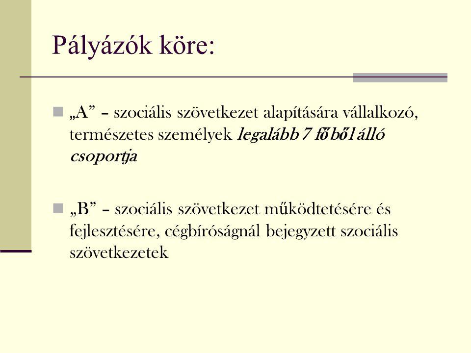 """Pályázók köre: """"A – szociális szövetkezet alapítására vállalkozó, természetes személyek legalább 7 főből álló csoportja."""