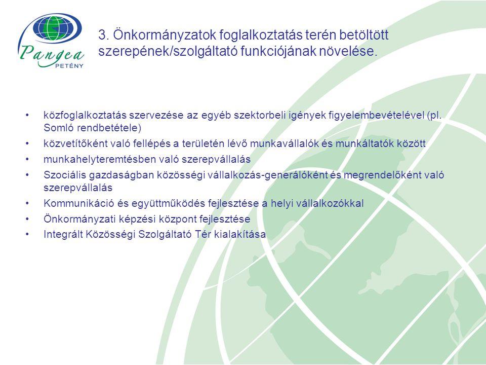 3. Önkormányzatok foglalkoztatás terén betöltött szerepének/szolgáltató funkciójának növelése.