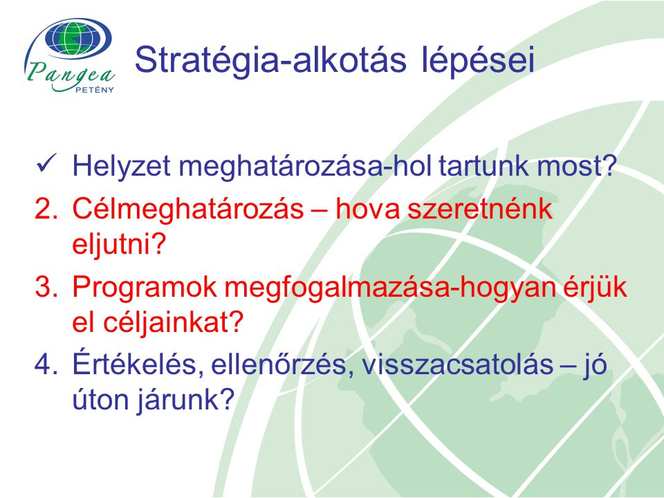 Stratégia-alkotás lépései