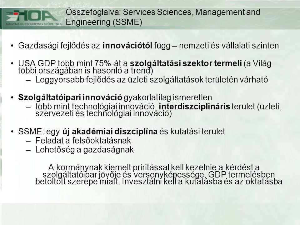 Összefoglalva: Services Sciences, Management and Engineering (SSME)