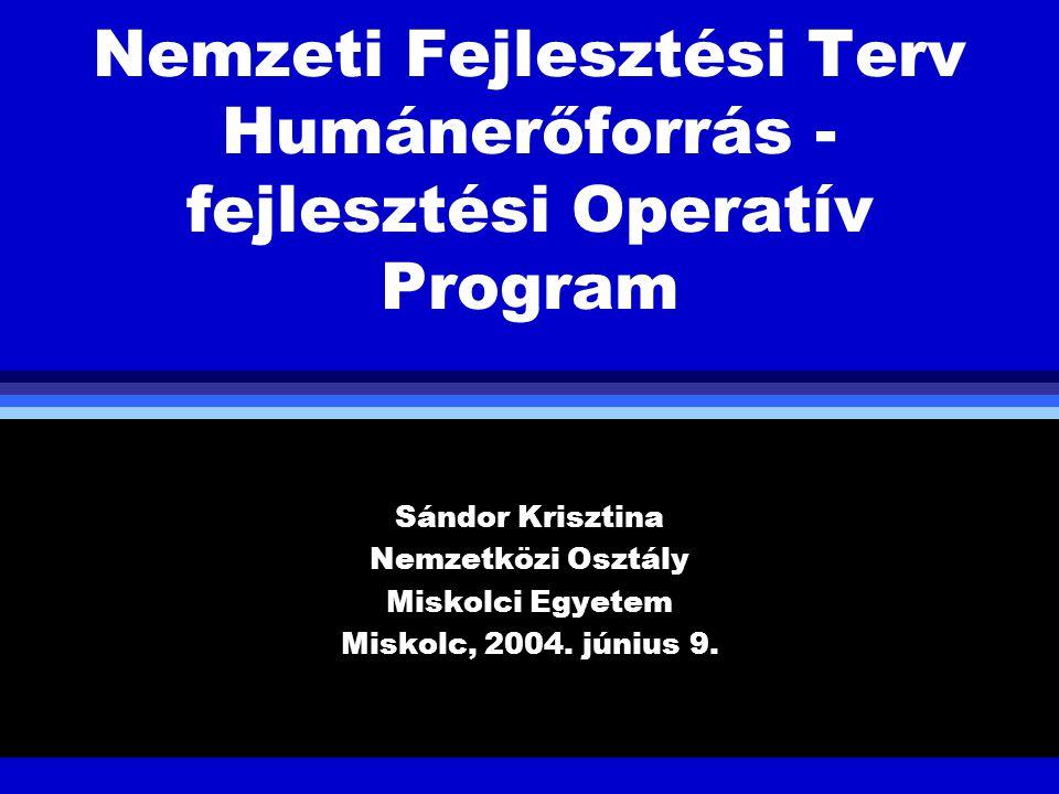 Nemzeti Fejlesztési Terv Humánerőforrás - fejlesztési Operatív Program