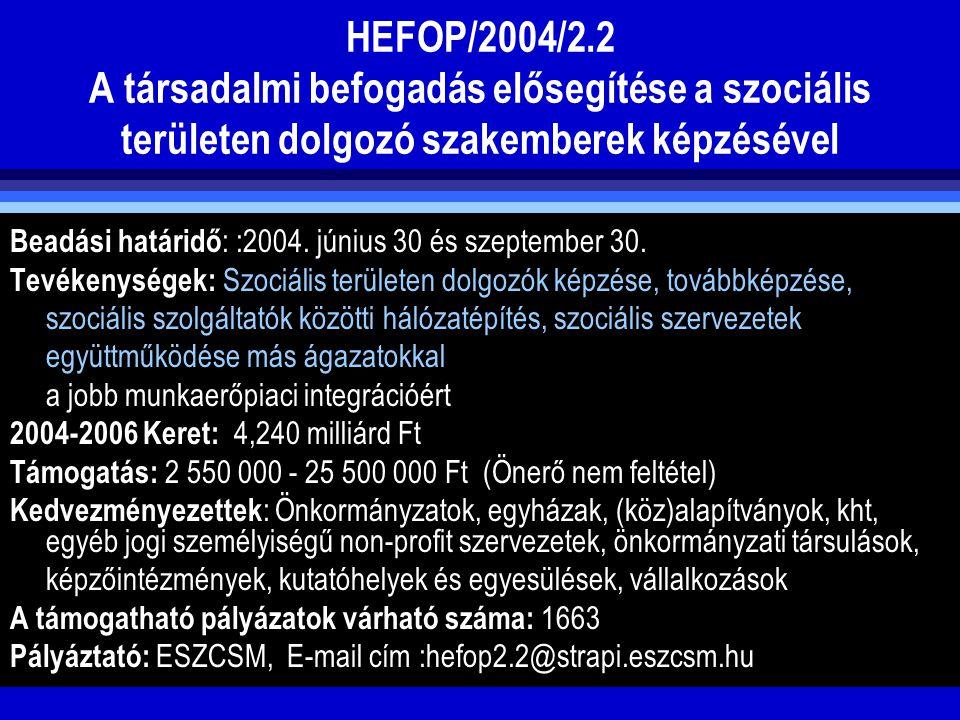 HEFOP/2004/2.2 A társadalmi befogadás elősegítése a szociális területen dolgozó szakemberek képzésével