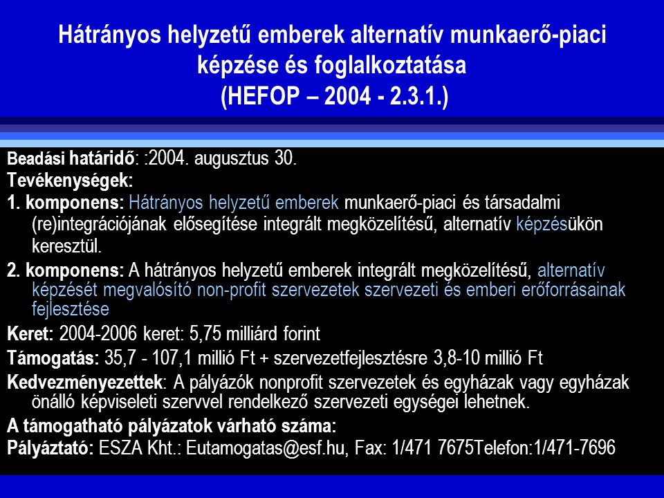 Hátrányos helyzetű emberek alternatív munkaerő-piaci képzése és foglalkoztatása (HEFOP – 2004 - 2.3.1.)