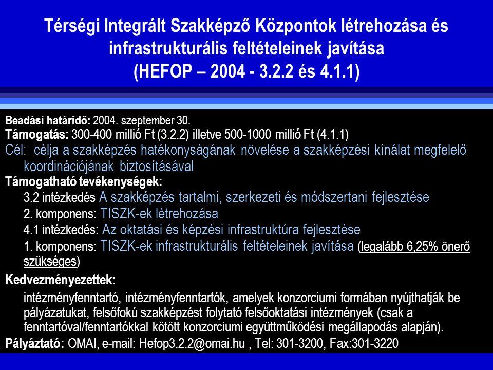 Térségi Integrált Szakképző Központok létrehozása és infrastrukturális feltételeinek javítása (HEFOP – 2004 - 3.2.2 és 4.1.1)