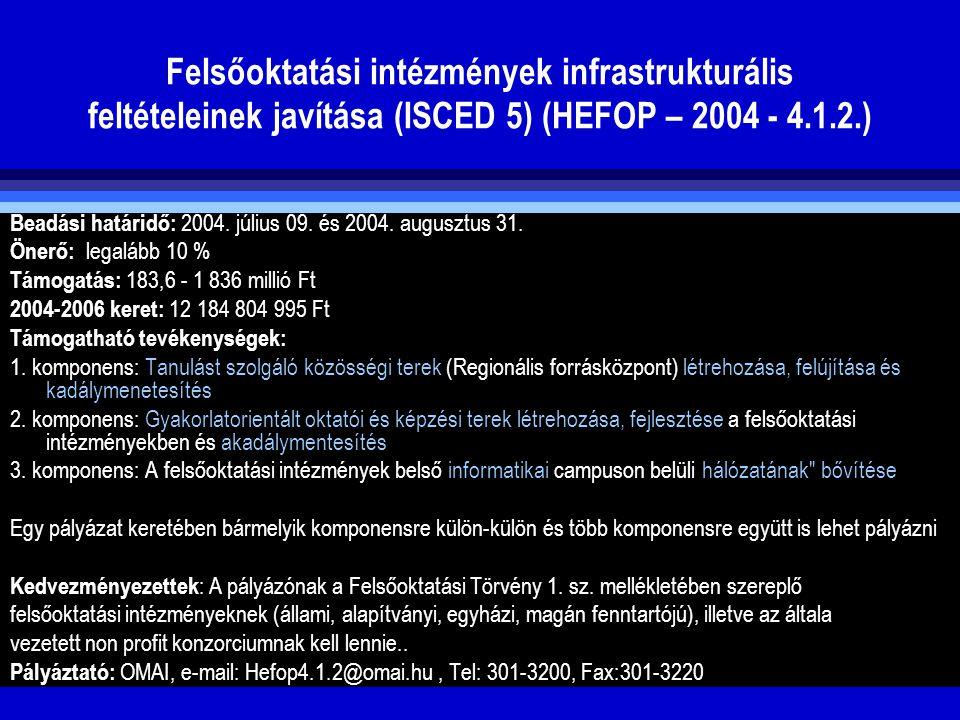 Felsőoktatási intézmények infrastrukturális feltételeinek javítása (ISCED 5) (HEFOP – 2004 - 4.1.2.)