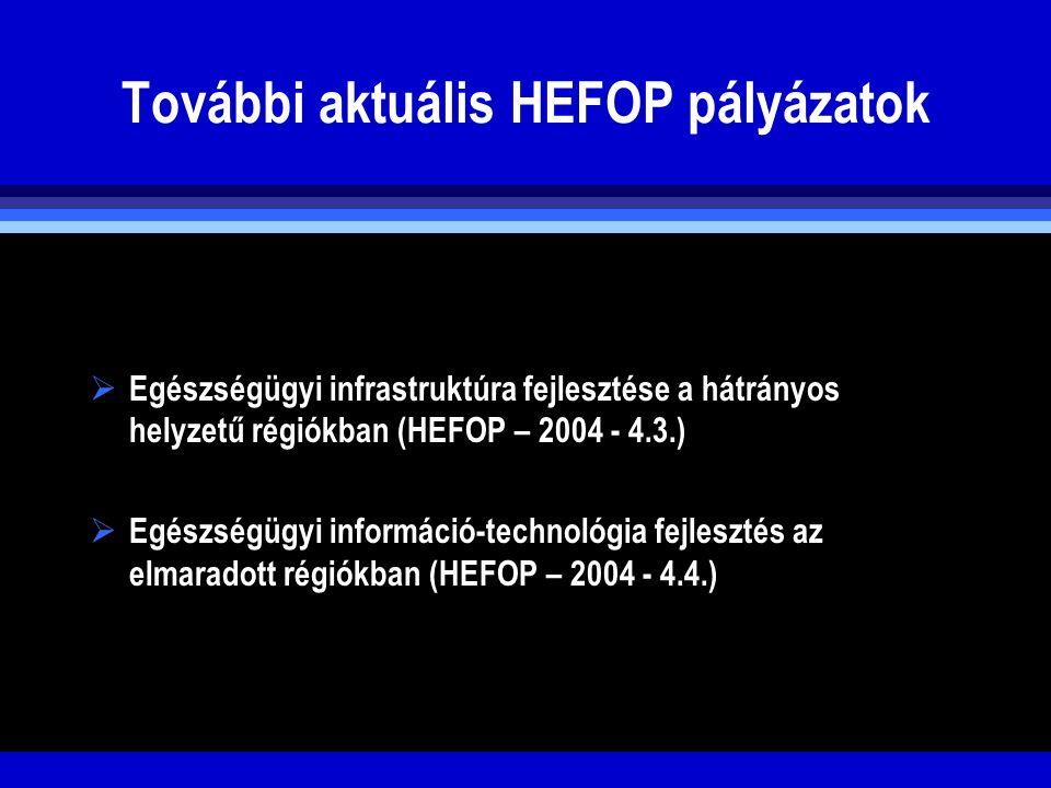További aktuális HEFOP pályázatok