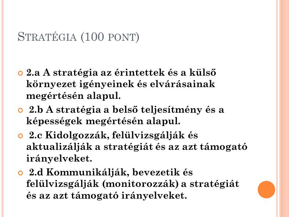 Stratégia (100 pont) 2.a A stratégia az érintettek és a külső környezet igényeinek és elvárásainak megértésén alapul.