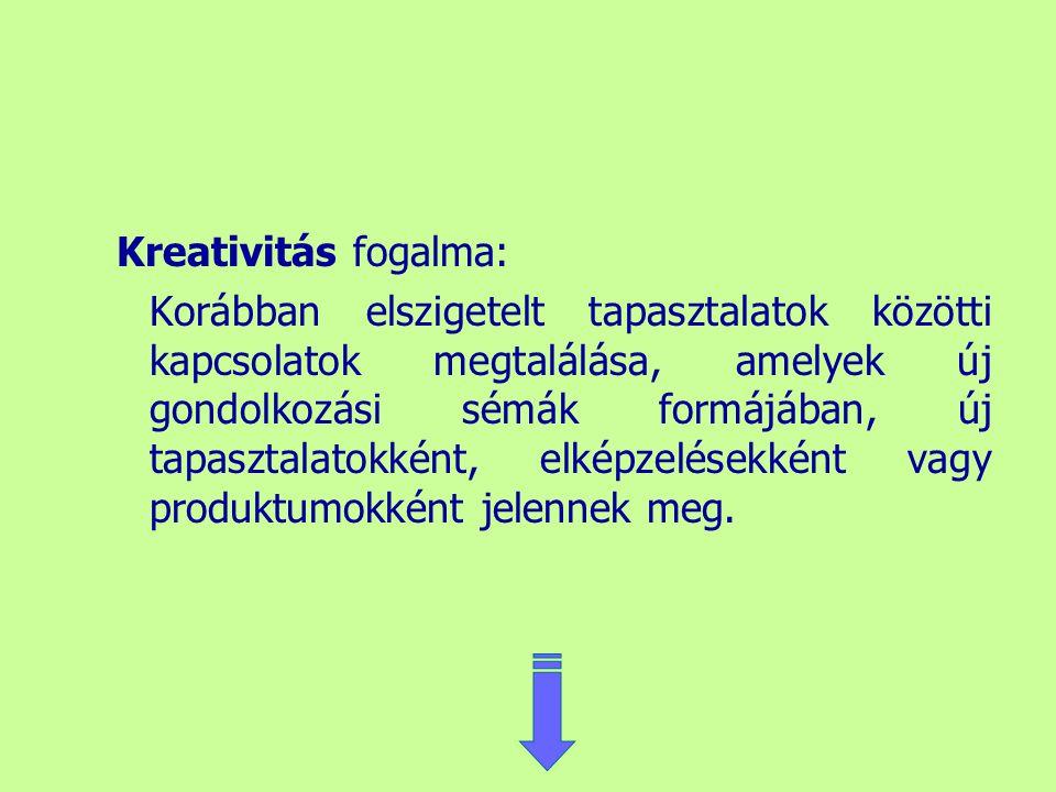 Kreativitás fogalma: