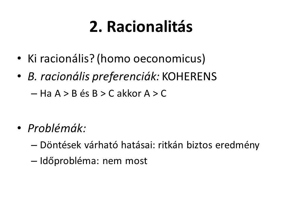 2. Racionalitás Ki racionális (homo oeconomicus)