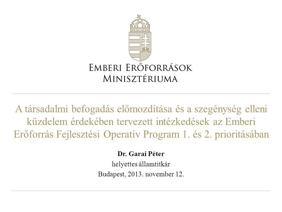 Dr. Garai Péter helyettes államtitkár Budapest, 2013. november 12.