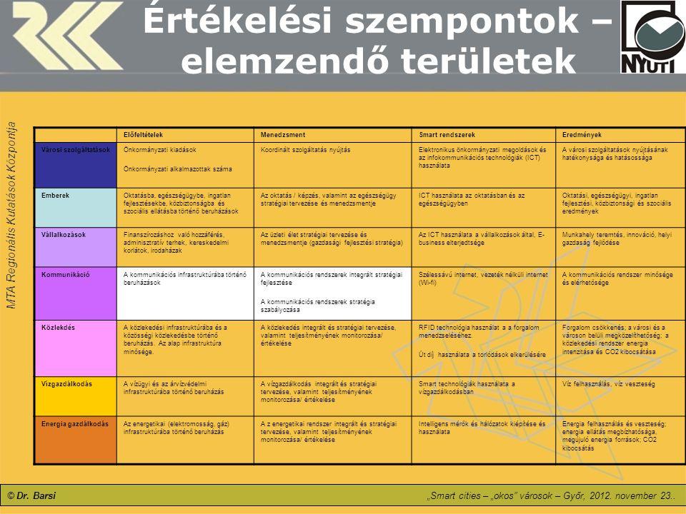 Értékelési szempontok – elemzendő területek