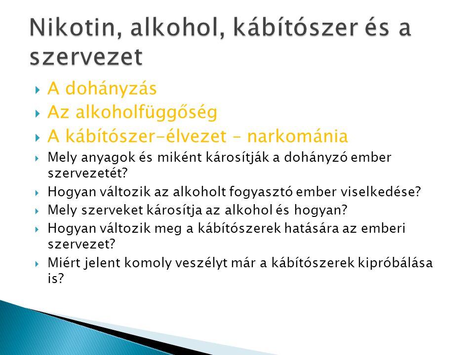 Nikotin, alkohol, kábítószer és a szervezet