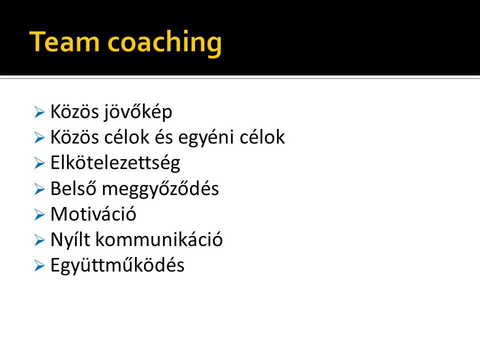Team coaching Közös jövőkép Közös célok és egyéni célok