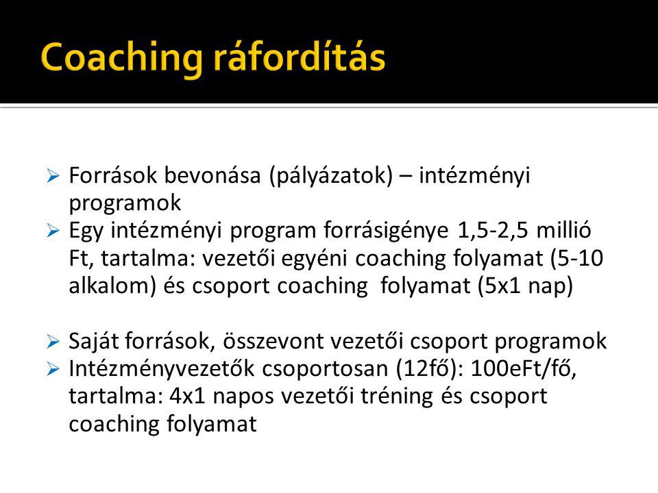 Coaching ráfordítás Források bevonása (pályázatok) – intézményi programok.