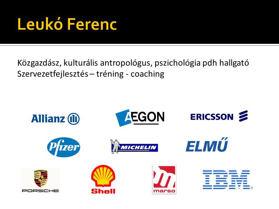 Leukó Ferenc Közgazdász, kulturális antropológus, pszichológia pdh hallgató Szervezetfejlesztés – tréning - coaching