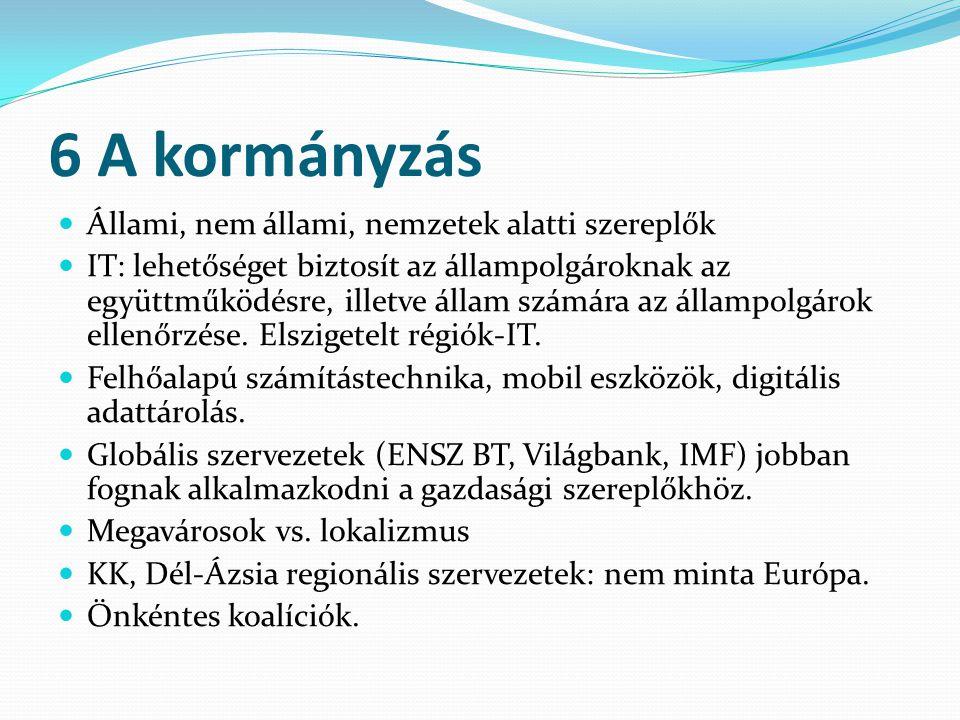 6 A kormányzás Állami, nem állami, nemzetek alatti szereplők