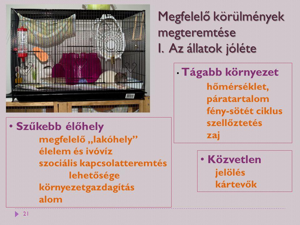 Megfelelő körülmények megteremtése I. Az állatok jóléte