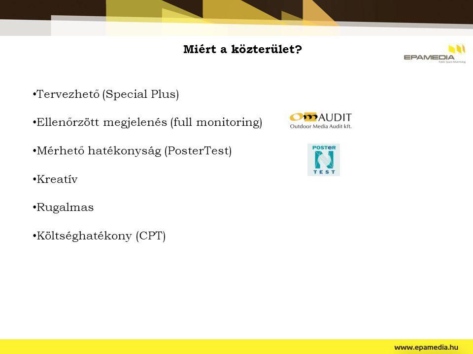 Miért a közterület Tervezhető (Special Plus) Ellenőrzött megjelenés (full monitoring) Mérhető hatékonyság (PosterTest)