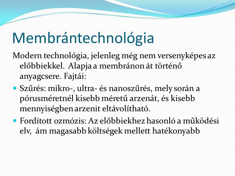 Membrántechnológia Modern technológia, jelenleg még nem versenyképes az előbbiekkel. Alapja a membránon át történő anyagcsere. Fajtái:
