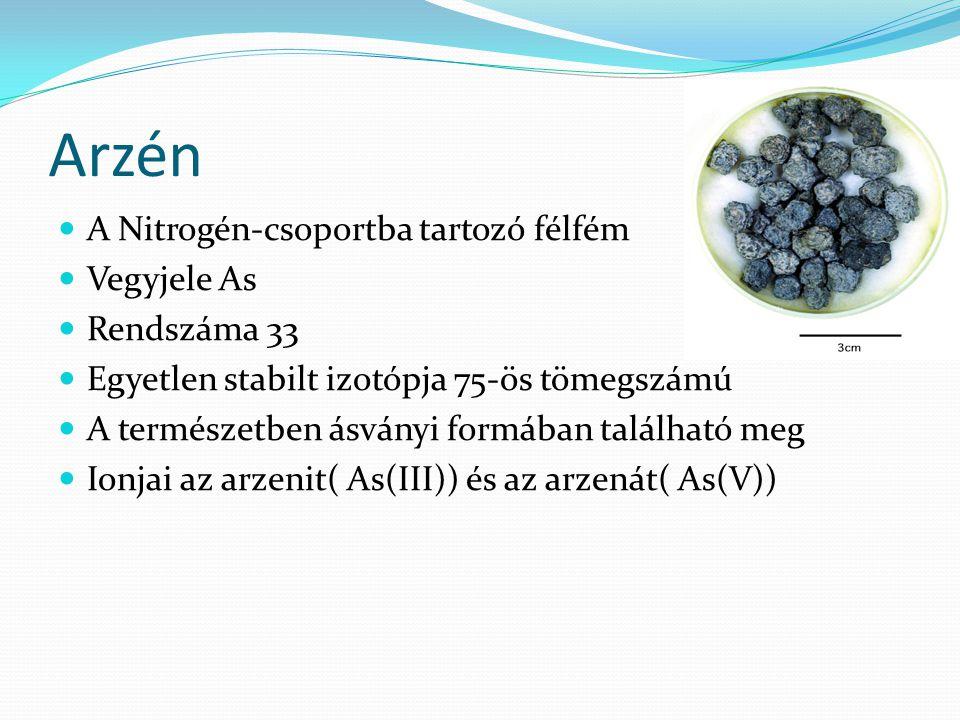 Arzén A Nitrogén-csoportba tartozó félfém Vegyjele As Rendszáma 33