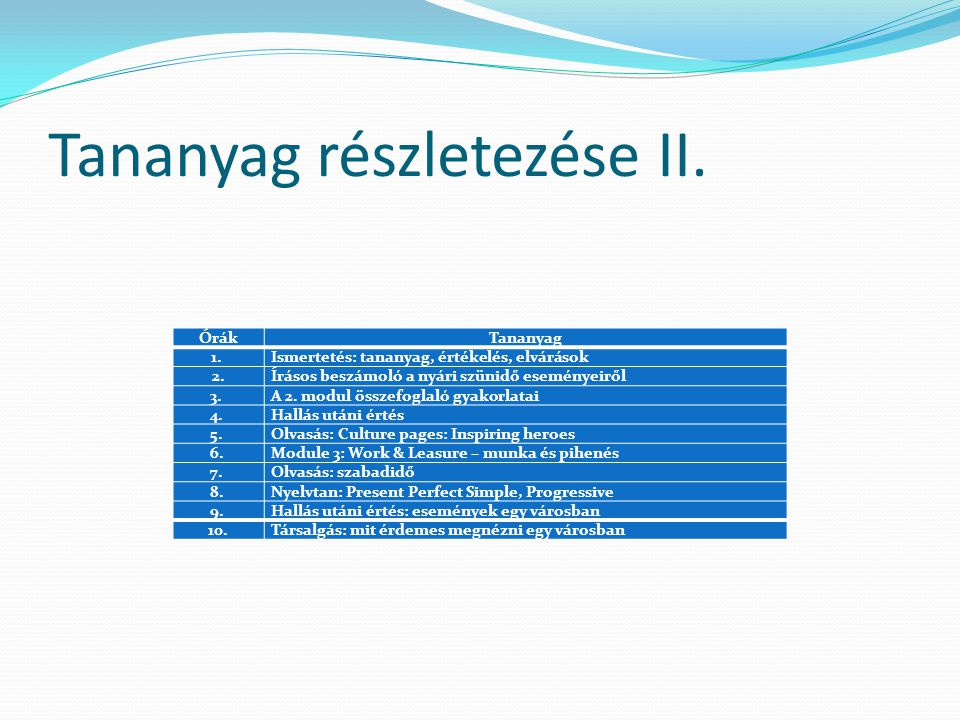 Tananyag részletezése II.