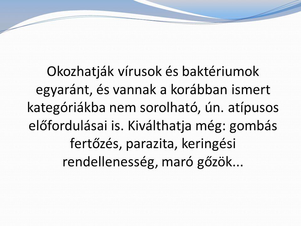 Okozhatják vírusok és baktériumok egyaránt, és vannak a korábban ismert kategóriákba nem sorolható, ún.