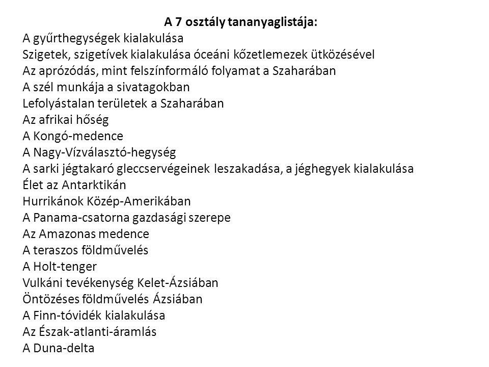 A 7 osztály tananyaglistája: