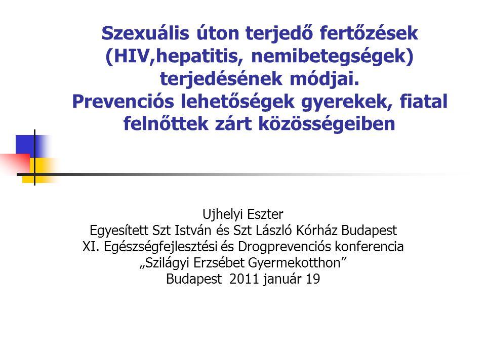 Szexuális úton terjedő fertőzések (HIV,hepatitis, nemibetegségek) terjedésének módjai. Prevenciós lehetőségek gyerekek, fiatal felnőttek zárt közösségeiben