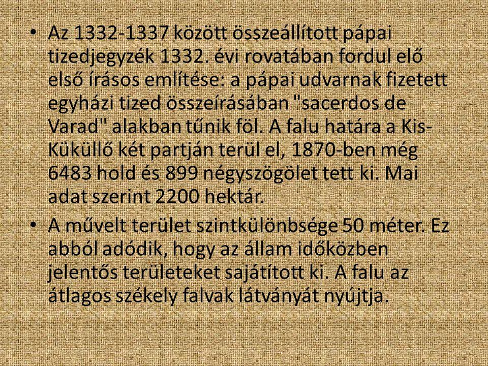 Az 1332-1337 között összeállított pápai tizedjegyzék 1332