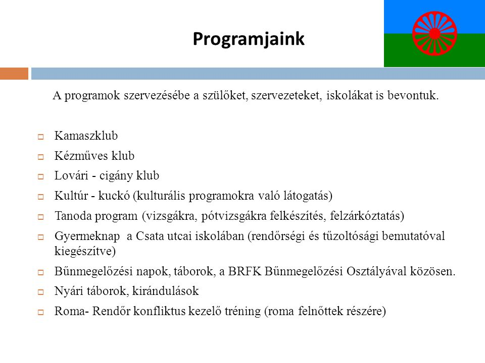 Programjaink A programok szervezésébe a szülőket, szervezeteket, iskolákat is bevontuk. Kamaszklub.