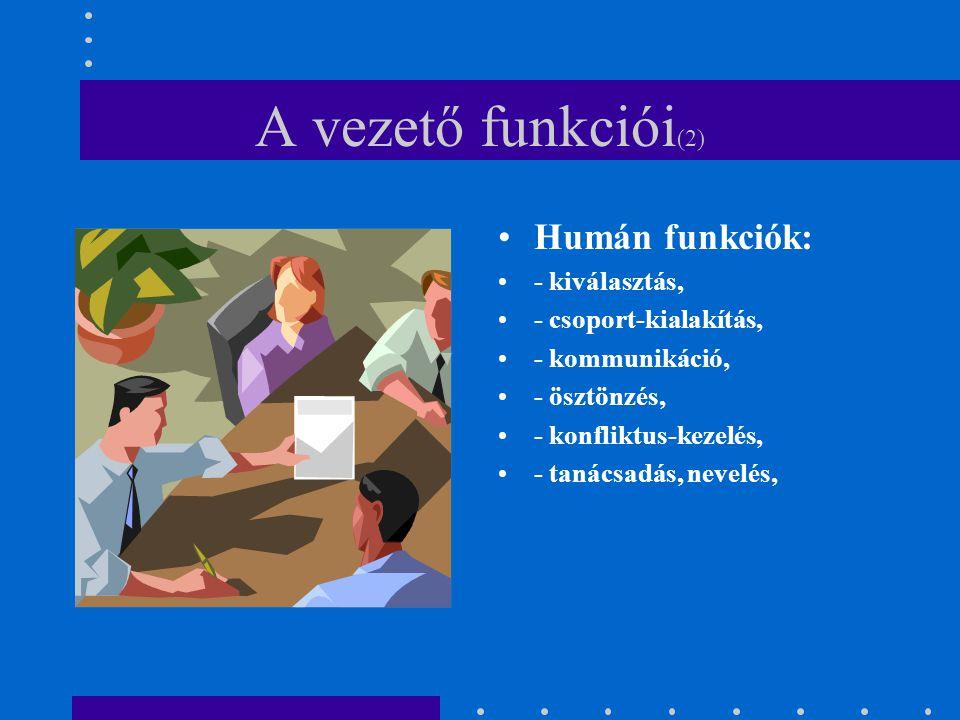 A vezető funkciói(2) Humán funkciók: - kiválasztás,