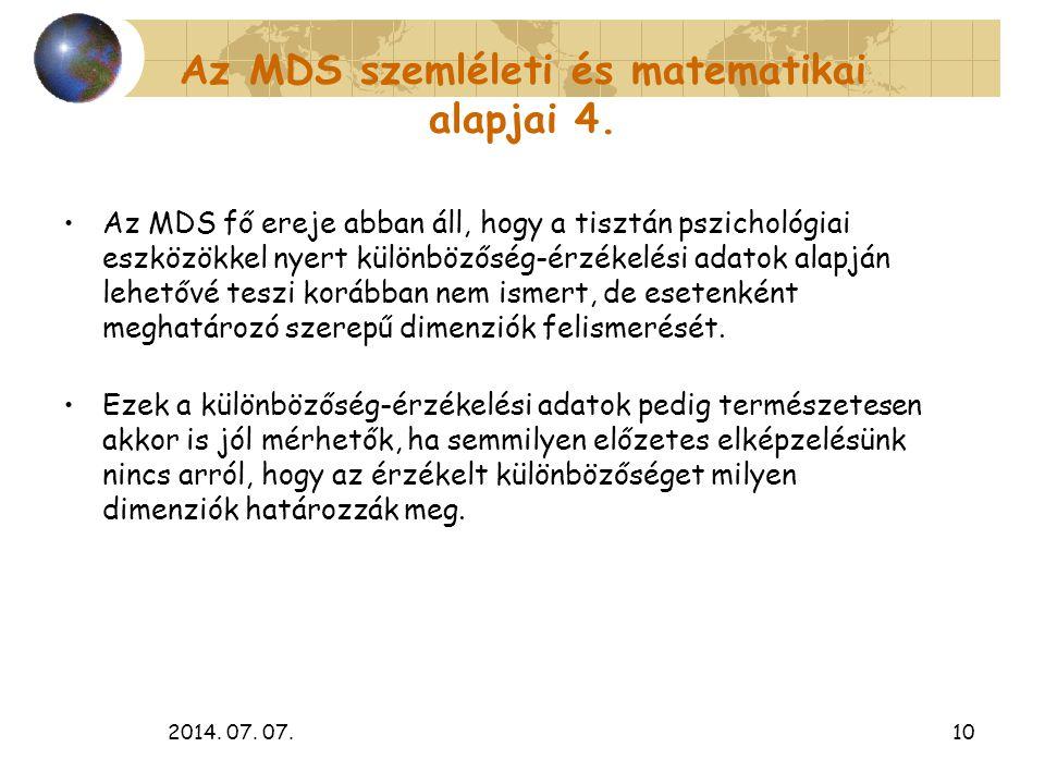 Az MDS szemléleti és matematikai alapjai 4.