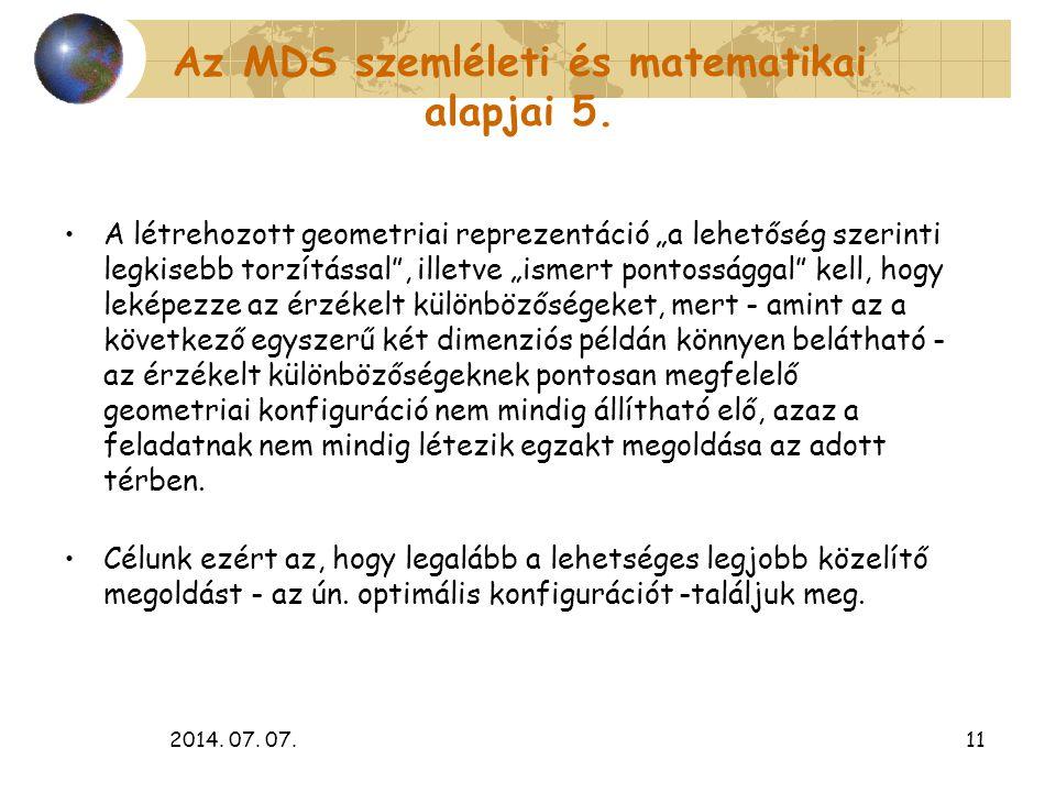 Az MDS szemléleti és matematikai alapjai 5.
